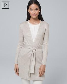 White House Black Market Petite Metallic Belted Cover-up