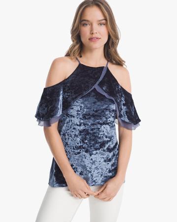 White House Black Market Women's Short-sleeve Cold-shoulder Velvet Flounce Top