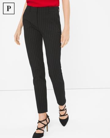 White House Black Market Women's Petite Premium Bi-stretch Pinstripe Slim Ankle Pants