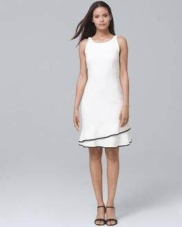 White House Black Market Tiered-hem White A-line Dress