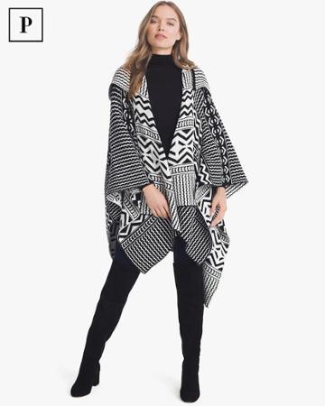 White House Black Market Women's Petite Black & White Graphic Hooded Ruana
