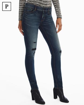 White House Black Market Women's Petite Distressed Slim Jeans