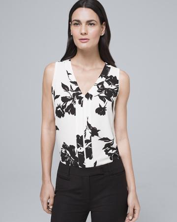 White House Black Market Women's Floral Pleat-detail Shell