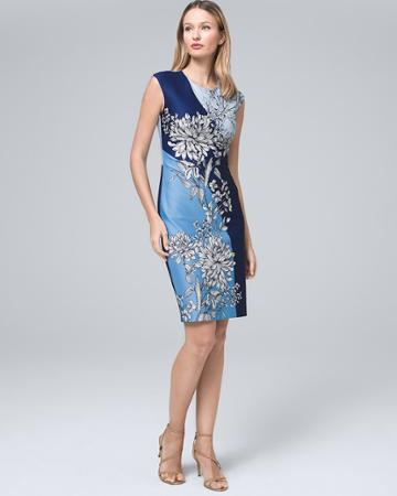 White House Black Market Women's Vince Camuto Colorblock-floral Scuba Knit Dress