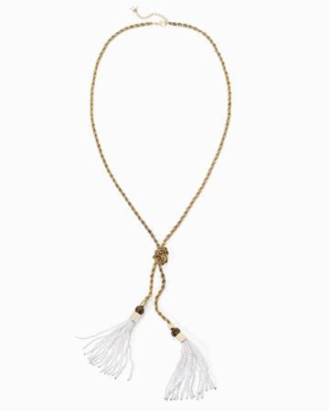 White House Black Market Women's Rope Chain Pearl Tassel Necklace
