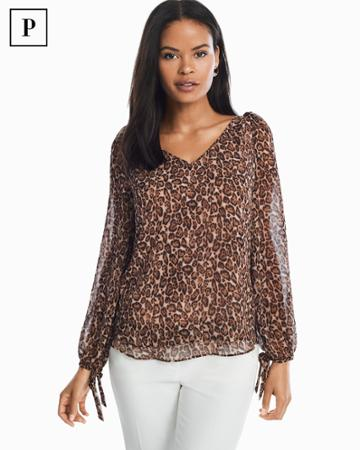 White House Black Market Women's Petite Leopard Print Blouse