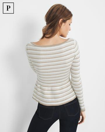 White House Black Market Women's Petite Metallic-stripe Peplum Sweater