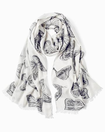 White House Black Market Women's Living Beyond Breast Cancer Butterfly Print Oblong Scarf