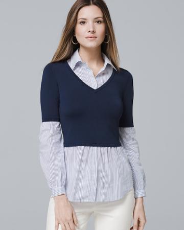 White House Black Market Women's Long-sleeve V-neck Twofer Sweater