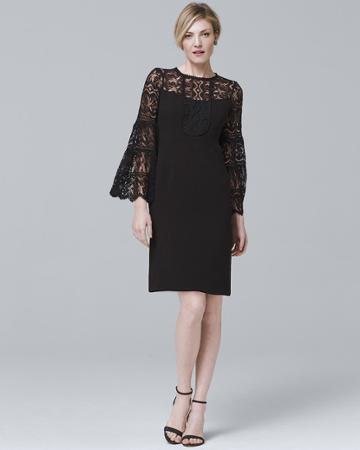 White House Black Market Women's Nanette Lepore Bell-sleeve Black Lace Shift Dress