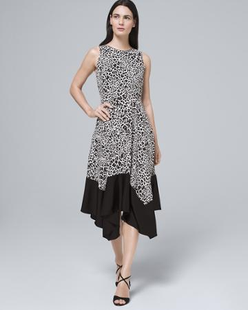 White House Black Market Women's Animal Soft Fit-and-flare Midi Dress