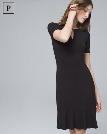 White House Black Market Women's Petite Flounce-hem Black Knit Dress