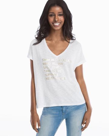 White House Black Market Women's Short-sleeve V-neck Tee