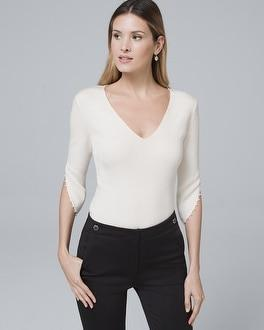 White House Black Market Faux Pearl-sleeve Sweater
