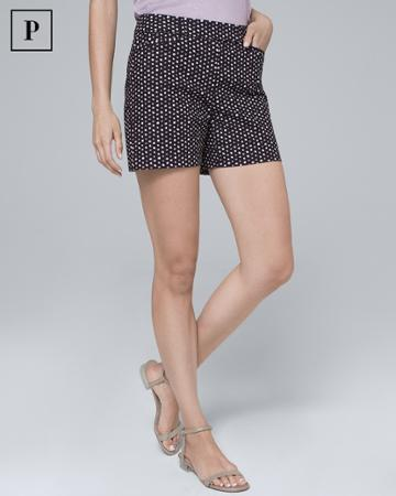 White House Black Market Women's Petite 5-inch Printed Smooth Stretch Shorts