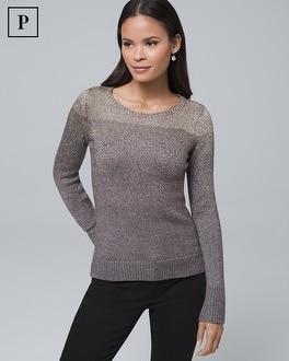 White House Black Market Petite Metallic-ombre Sweater