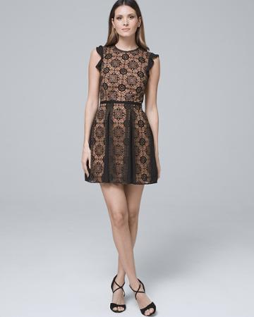 White House Black Market Women's Ml Monique Lace Fit-and-flare Dress