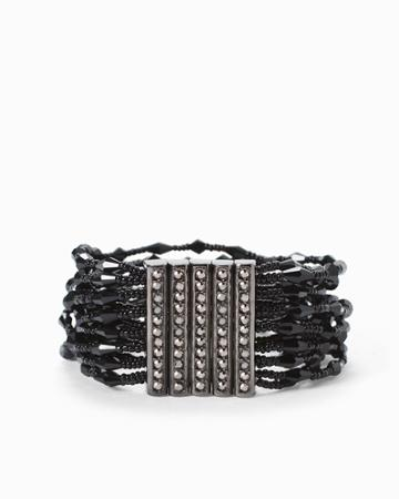 White House Black Market Women's Jet Multi-strand Stretch Bracelet