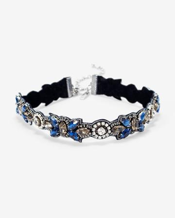 White House Black Market Women's Hematite Blue Stone Fabric Choker Necklace