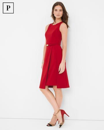 White House Black Market Women's Petite Double Layer A-line Dress