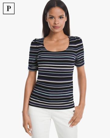 White House Black Market Women's Petite Elbow-sleeve Stripe Knit Tee