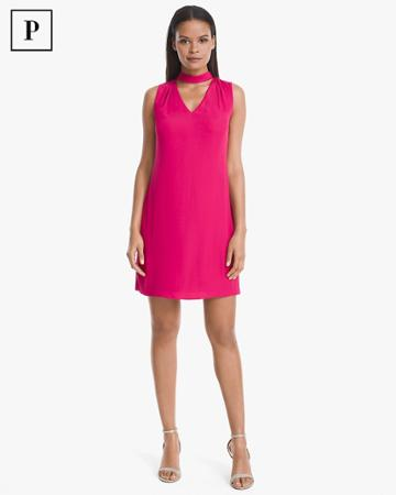 White House Black Market Women's Petite Choker-neck Shift Dress