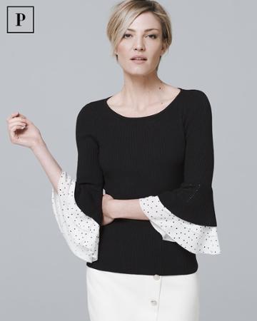 White House Black Market Women's Petite Woven-dot Ruffle Sleeve Sweater