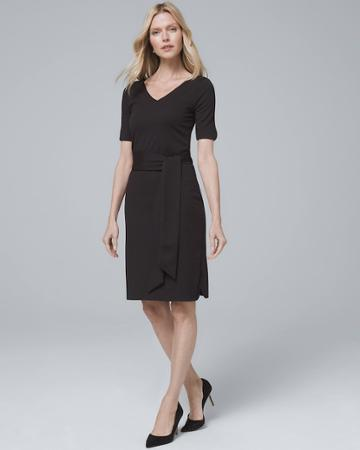 White House Black Market Women's V-neck Black Knit Dress