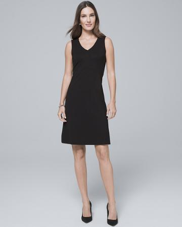 White House Black Market Women's V-neck Black Knit Shift Dress