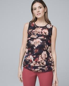 White House Black Market Floral-print Tiered Shell