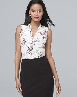 White House Black Market Sleeveless Ruched Floral-print Top