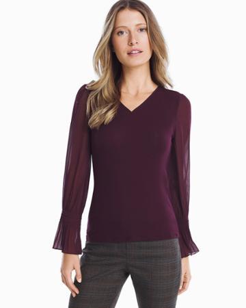 White House Black Market Women's Long Woven Sheer Sleeve Knit Top