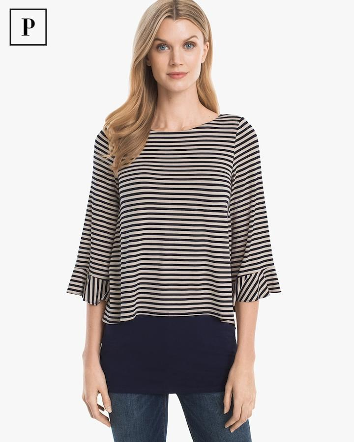 White House Black Market Women's Petite Striped Double-hem Tunic