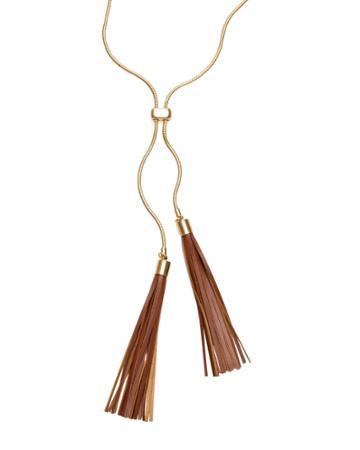 White House Black Market Women's Leather Double-tassel Necklace