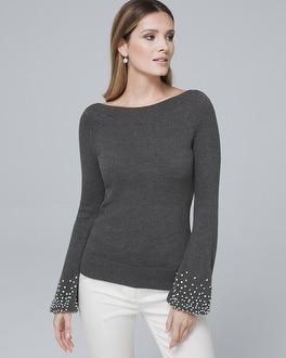 White House Black Market Embellished-cuff Sweater