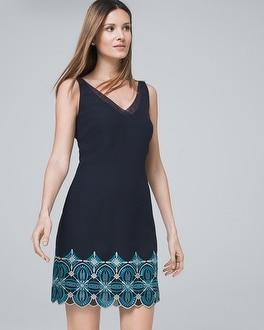 White House Black Market Embroidered Shift Dress