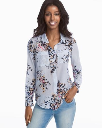 White House Black Market Women's Floral Button-up Shirt