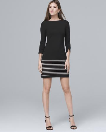 White House Black Market Women's Stripe-hem Knit Shift Dress
