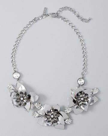White House Black Market Women's Flower Statement Necklace