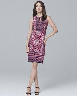 White House Black Market Mixed-print Knit Shift Dress