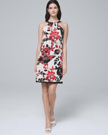 White House Black Market Women's Ultimate Reversible Floral Print/solid Shift Dress