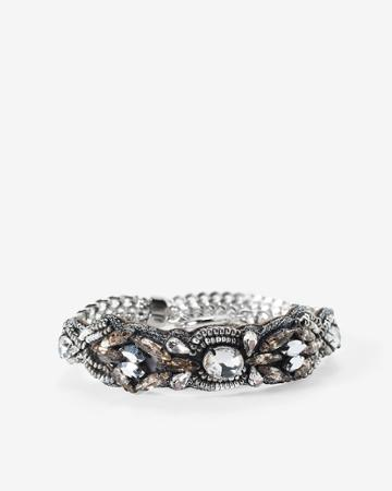White House Black Market Women's Chain Fabric Wrap Toggle Bracelet