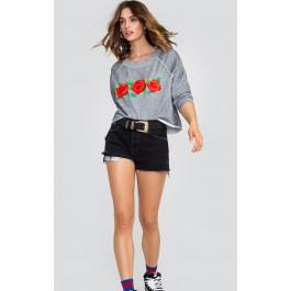 Wildfox Couture Three Roses Embroidery Monte Crop