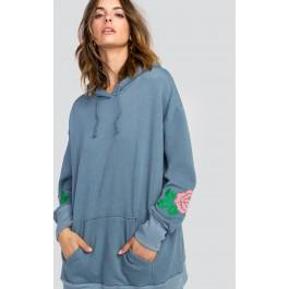 Wildfox Couture Indigo Rose Embroidery Relax Hoodie