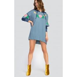 Wildfox Couture Indigo Rose Embroidery Party Doll T-shirt Dress