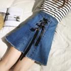 Lace-up Back A-line Denim Skirt