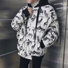 Zebra Hooded Zip Jacket