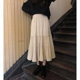 Ruffled Sweatshirt / Midi A-line Skirt