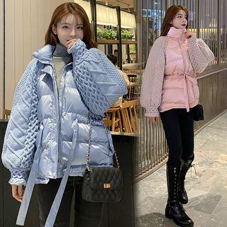 Cable-knit Panel Padded Coat