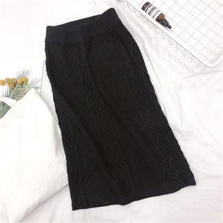 Cable Knit Midi Skirt Black - One Size